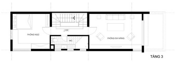 Thiết Kế Nhà Ống 3 Tầng Có Vườn Rau Trên Sân Thượng:  Nhà gia đình by Công ty TNHH Xây Dựng TM – DV Song Phát