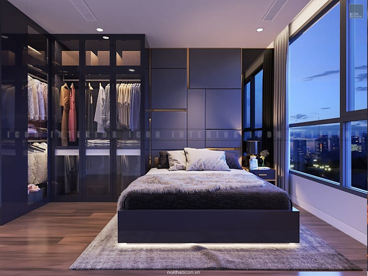 SẮC TRẮNG TRONG CĂN HỘ CHUNG CƯ CAO CẤP VINHOMES CENTRAL PARK:  Phòng ngủ by ICON INTERIOR
