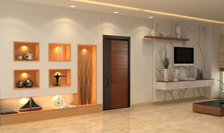 3BHK,Manish Nagar, Nagpur: modern Living room by Form & Function