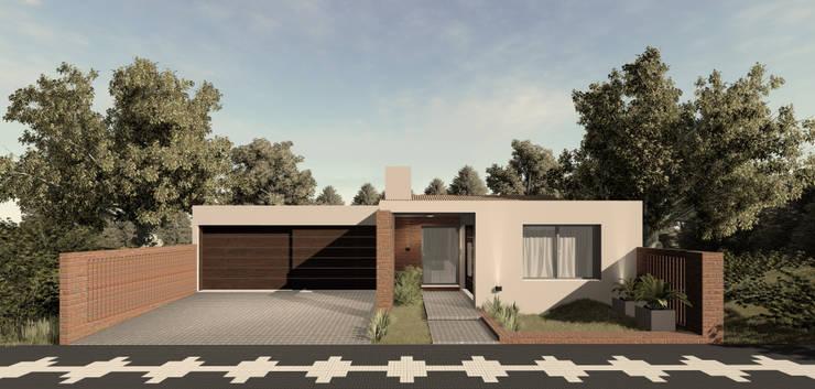Projekty,  Dom jednorodzinny zaprojektowane przez PRIGIONI Arquitectura y Diseño, Nowoczesny Cegły