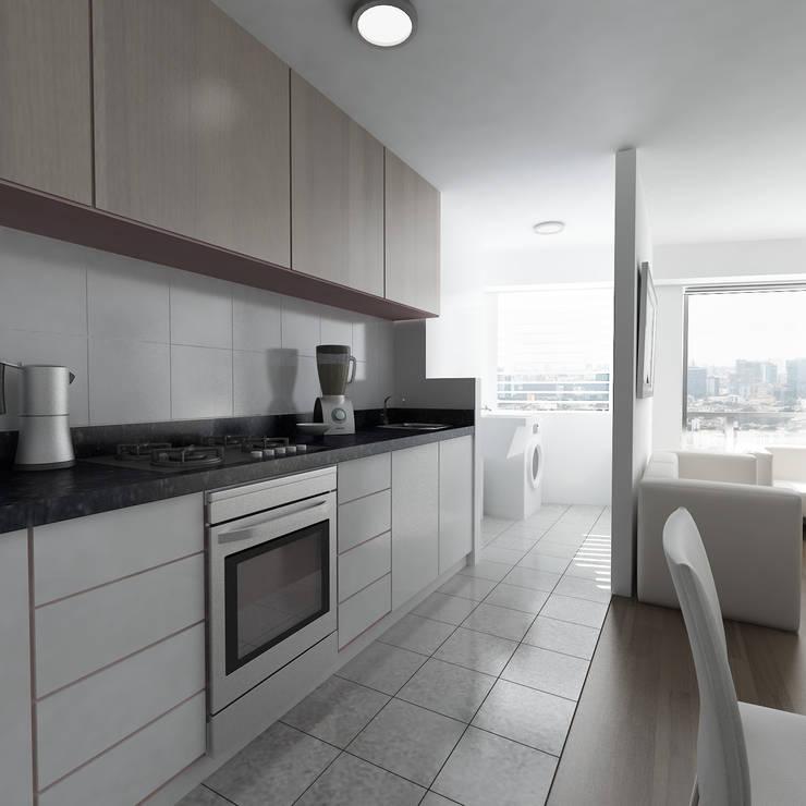Residencial Aguarico: Cocinas equipadas de estilo  por Prototype Arquitectos S.A.C.
