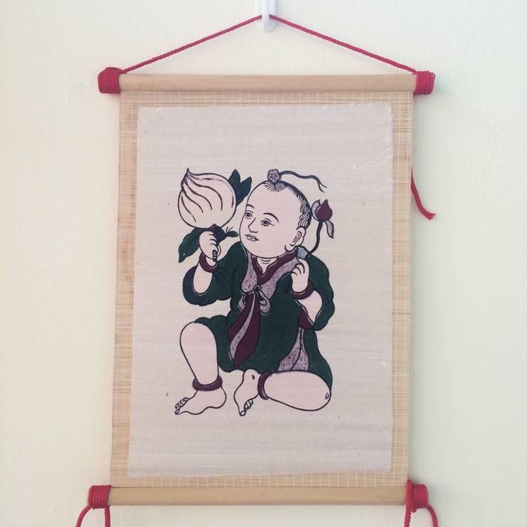 Tranh dân gian Đông Hồ dạng mành tre cuốn:   by Tranh Đông Hồ