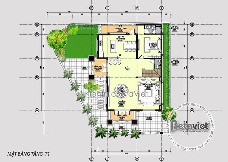 Mặt bằng tầng 1 thiết kế biệt thự 4 tầng kiểu Pháp Tân cổ điển lộng lẫy ( CĐT: Ông Tiến - Bắc Ninh) KT16131:   by Công Ty CP Kiến Trúc và Xây Dựng Betaviet
