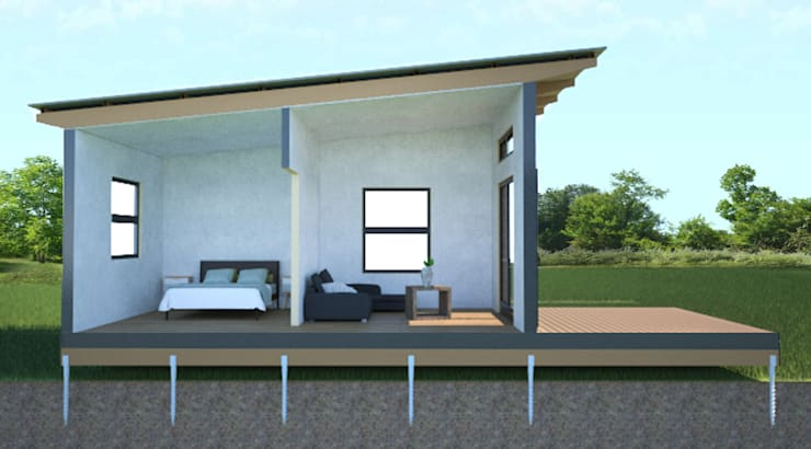 R660 015 (2 bedroom & 1 bathroom) Modular modern house—available to the local and export market.:  Houses by Greenpods