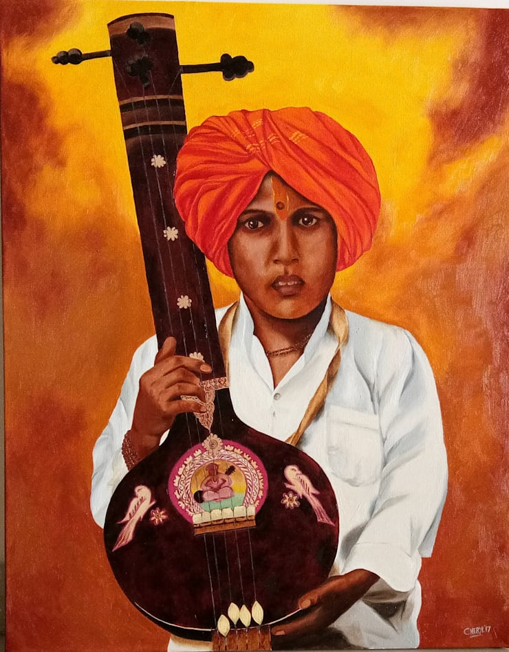 """Buy """"Boy with Tanpura"""" Traditional Painting Online: asian  by Indian Art Ideas,Asian"""
