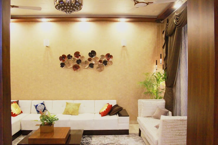 The Villa:  Living room by Ideagully Products Innovations Private Limited