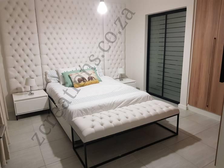 Diamond tufted heardboard:  Bedroom by ZCreations