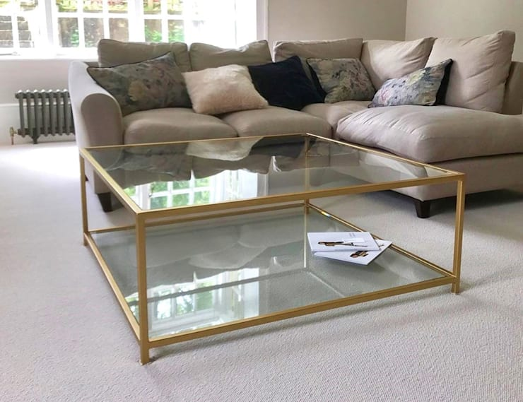 Metal and Glass Coffee Table:  Living room by Andrew McQueen