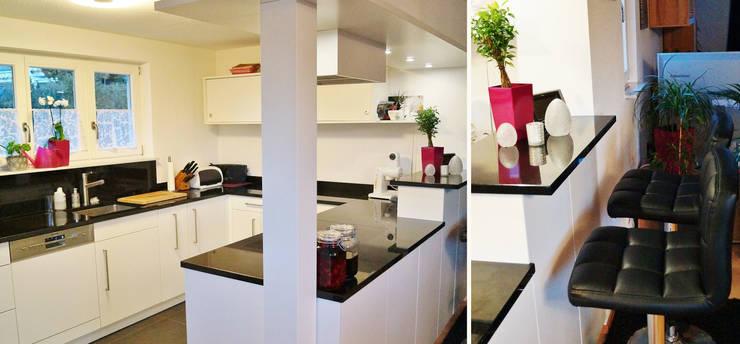 Gut organisiert mit viel Stauraum, modern in schwarz weiß gehalten. :  Einbauküche von Schreinerei & Innenausbau Fuchslocher