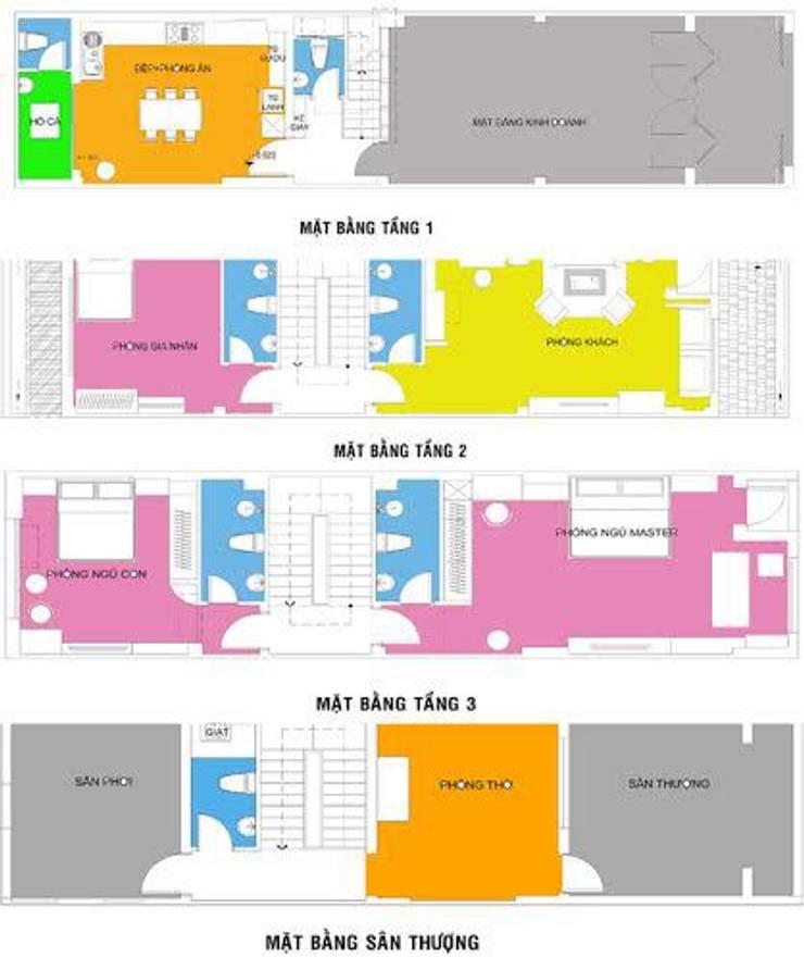 Mẫu Thiết Kế Nhà Phố 4 Tầng 4,3x20m Kết Hợp Ở Và Kinh Doanh:  Nhà gia đình by Công ty TNHH Xây Dựng TM – DV Song Phát