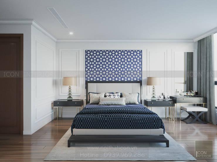 Thiết kế nội thất Vinhomes Central Park - Phong cách Đông Dương:  Phòng ngủ by ICON INTERIOR