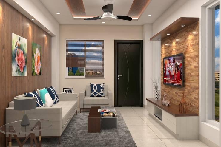 Kinthali Manoj:  Living room by ARK Architects & Interior Designers
