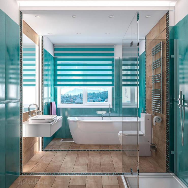 Ванная в современном стиле в КП Новые Вешки: Ванные комнаты в . Автор – Технологии дизайна, Модерн