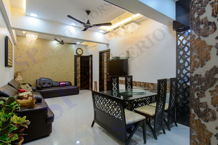 Bhadresh Jhaveri:  Dining room by SP INTERIORS