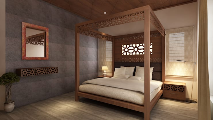 The Circular Courtyard House:  Bedroom by S Squared Architects Pvt Ltd.,Tropical Engineered Wood Transparent