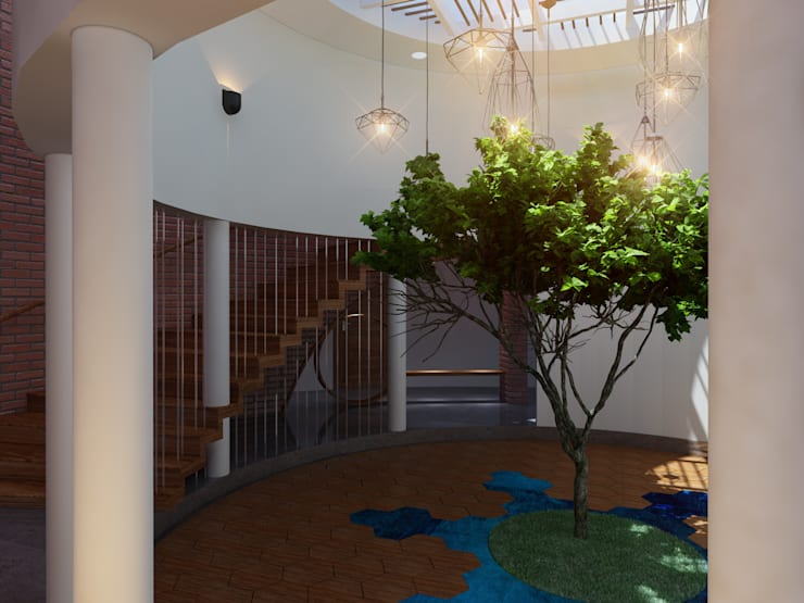 The Circular Courtyard House:  Corridor & hallway by S Squared Architects Pvt Ltd.,Tropical