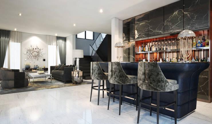บาร์+ห้องรับแขก:  ที่เก็บไวน์ by Luxxri Design