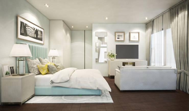 ห้องนอนสไตล์โมเดิร์น:  ห้องนอน by Luxxri Design