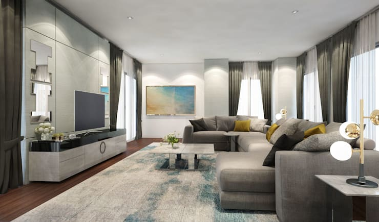 Living room ห้องนั่งเล่น:  งานศิลปะแต่งบ้าน by Luxxri Design