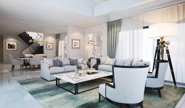 ห้องรับแขก Living room:  ห้องนั่งเล่น by Luxxri Design