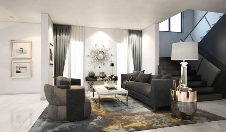 ห้องโถง Living room:  ตกแต่งภายใน by Luxxri Design