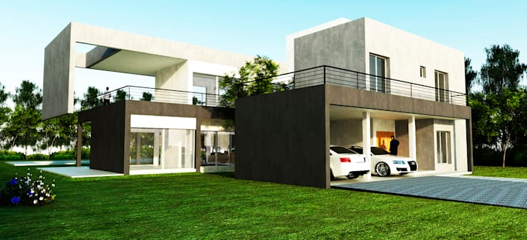 Vista Lateral: Casas unifamiliares de estilo  por I.S. ARQUITECTURA