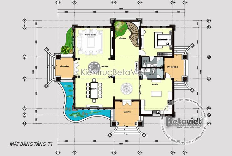 Mặt bằng tầng 1 mẫu biệt thự 3 tầng kiến trúc châu Âu nhà Ông Sơn - Sơn La KT17093:   by Công Ty CP Kiến Trúc và Xây Dựng Betaviet