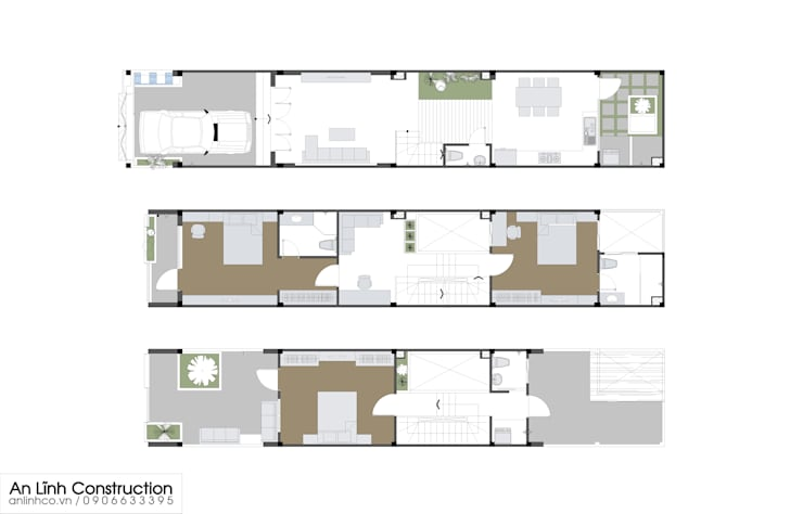 Công trình nhà phố tại quận 7:   by CÔNG TY THIẾT KẾ XÂY DỰNG AN LĨNH