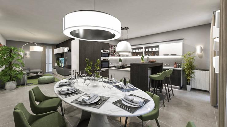 dal tavolo ovale: Sala da pranzo in stile  di studiosagitair