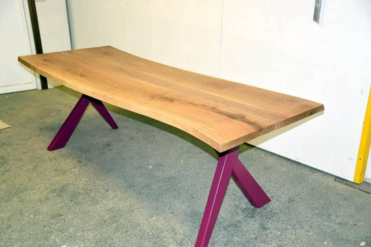 TAVOLO DESIGN ARCH PINO FUXIA in legno su misura artigianale 100 ...