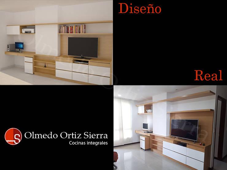 Diseño vs Mueble Real: Salones de estilo  por Cocinas Integrales Olmedo Ortiz Sierra