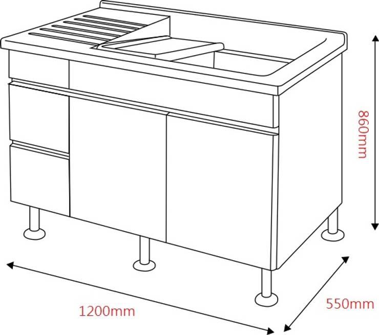 陽台人造大理石洗衣槽櫃:  陽台、門廊與露臺 by 綋宜實業有限公司
