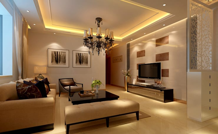 We are Do Interior and Turnkey Project design and execution.:  Living room by LJ Interior Concept