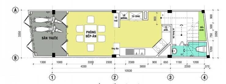Bố trí mặt bằng thiết kế nhà ống 4 tầng:  Nhà by Công ty TNHH Xây Dựng TM – DV Song Phát