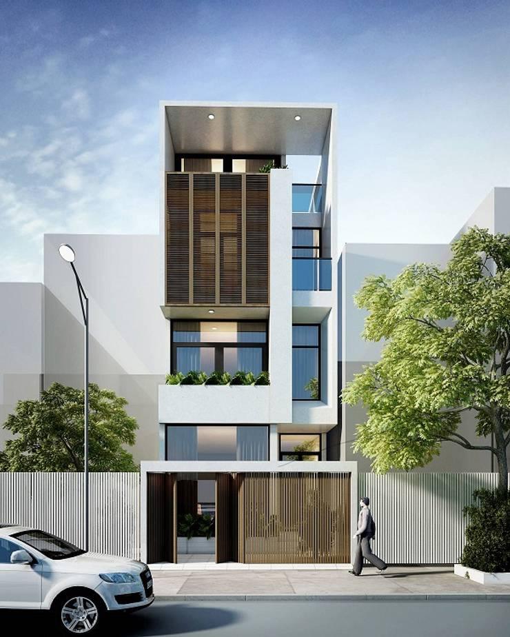 Mẫu nhà ống lệch tầng tầng đẹp – 10:  Nhà gia đình by Công ty TNHH Thiết Kế Xây Dựng Song Phát