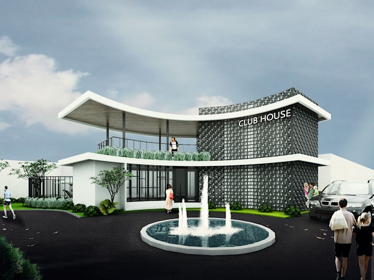 Club House :  Kolam renang halaman by Atelier BAOU+