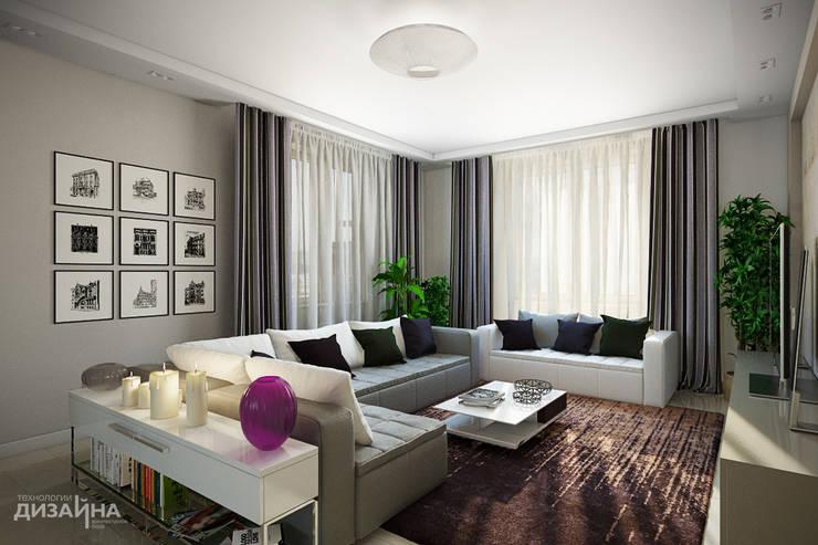 Гостиная в эко стиле в загородном доме: Гостиная в . Автор – Технологии дизайна, Модерн