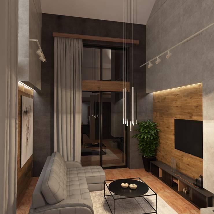 Частный дом г. Питер: Гостиная в . Автор – owndesign, Лофт