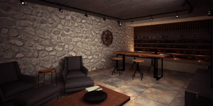 Cava en sótano: Cavas de estilo mediterraneo por PRAGMA Arquitectura