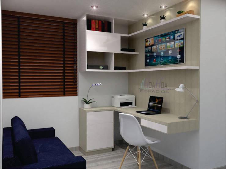 Estudio y mueble TV: Estudio de estilo  por HoaHoa Espacios SAS