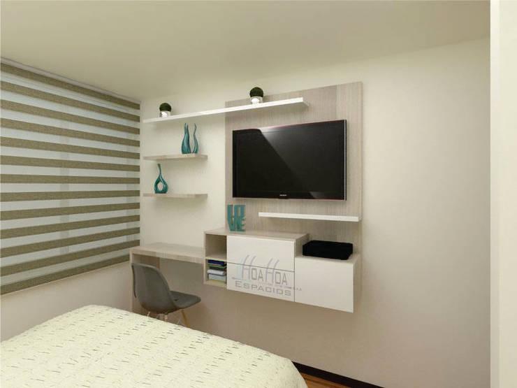 Mueble Tv y escritorio: Dormitorios de estilo  por HoaHoa Espacios SAS
