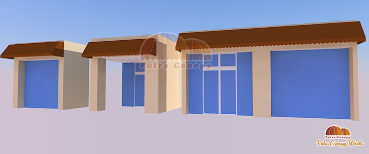 Canopy Kain Rumah (Konsep proposal):  Balconies, verandas & terraces  by Putra Canopy
