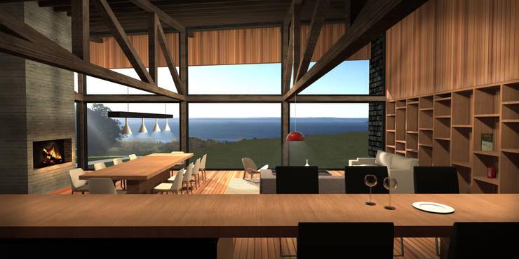 Casa Lago Ranco: Livings de estilo  por Nicolas Loi + Arquitectos Asociados