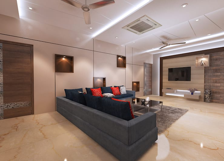 Residence-Pinjaniji:  Living room by KHOWAL ARCHITECTS + PLANNERS,Modern