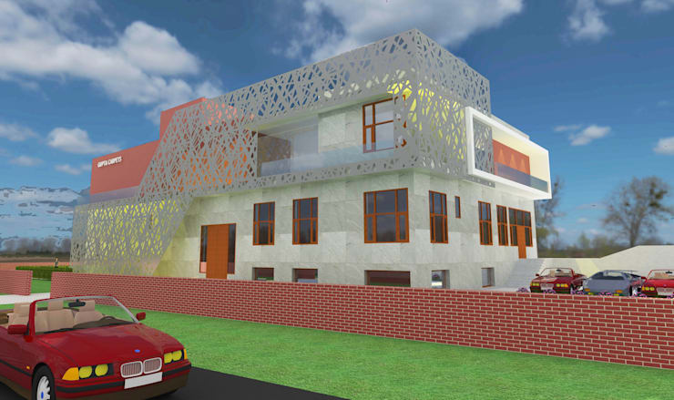 Proposed elevation for gupta carpet industries:  Houses by KHOWAL ARCHITECTS + PLANNERS,Modern