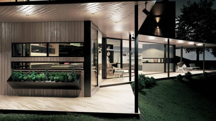 Casa C-J Balcones y terrazas de estilo moderno de Adrede Diseño Moderno Madera Acabado en madera