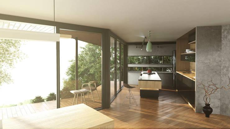 Cocina con vista de Adrede Diseño Moderno Madera Acabado en madera