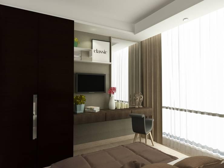BEDROOM 01 - ASCCOT APARTMENT, KUNINGAN-JAKARTA :  Kamar Tidur by spacious.interiordnb