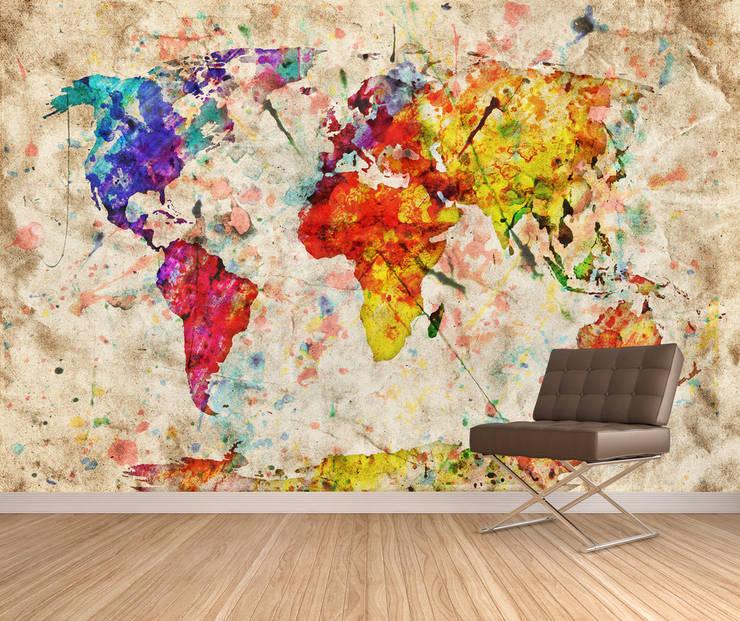 Dijivol Duvar Kağıtları – vol-HAR0418 / Suluboya Dünya Haritası:  tarz Duvarlar