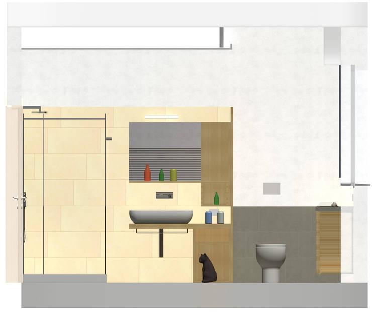 Prospetto lato lavabo - rendering di progetto:  in stile  di Daniele Arcomano, Moderno